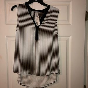 H&M Black and White Striped Sleeveless Blouse